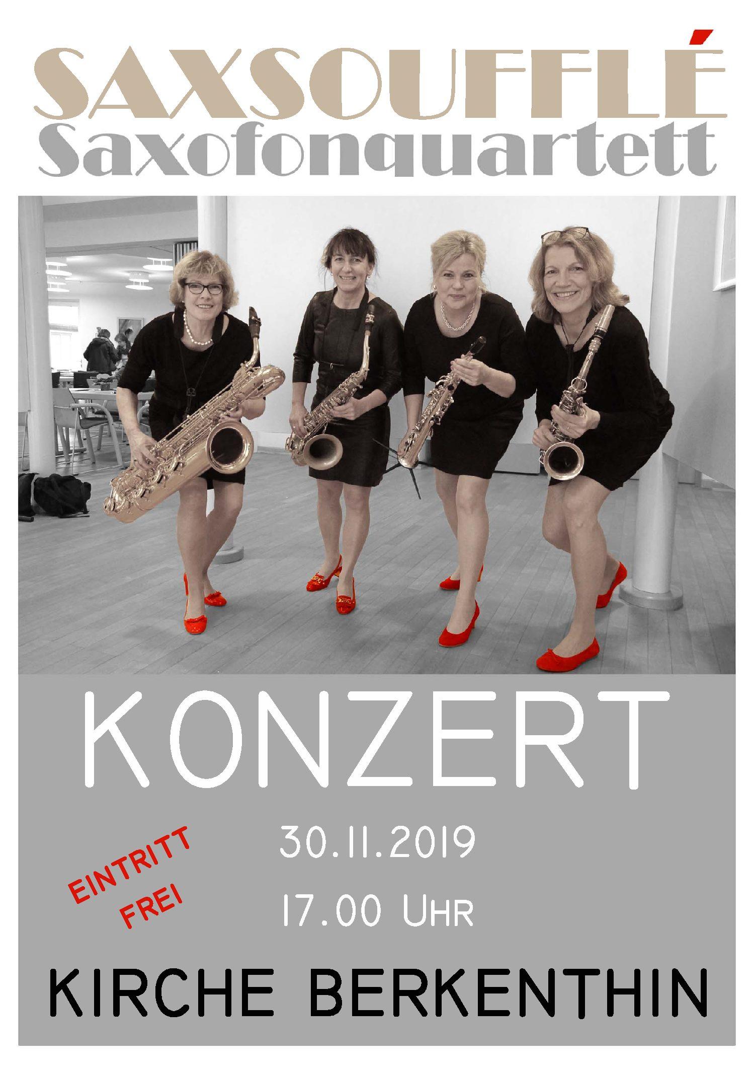 Saxophonquartett Saxsoufflé Am 30.11. In Der Berkenthiner Kirche