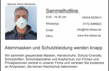 """Firma Fink & Bliese Aus Berkenthin Startet Hilfsaktion """"Jede Maske Zählt"""""""