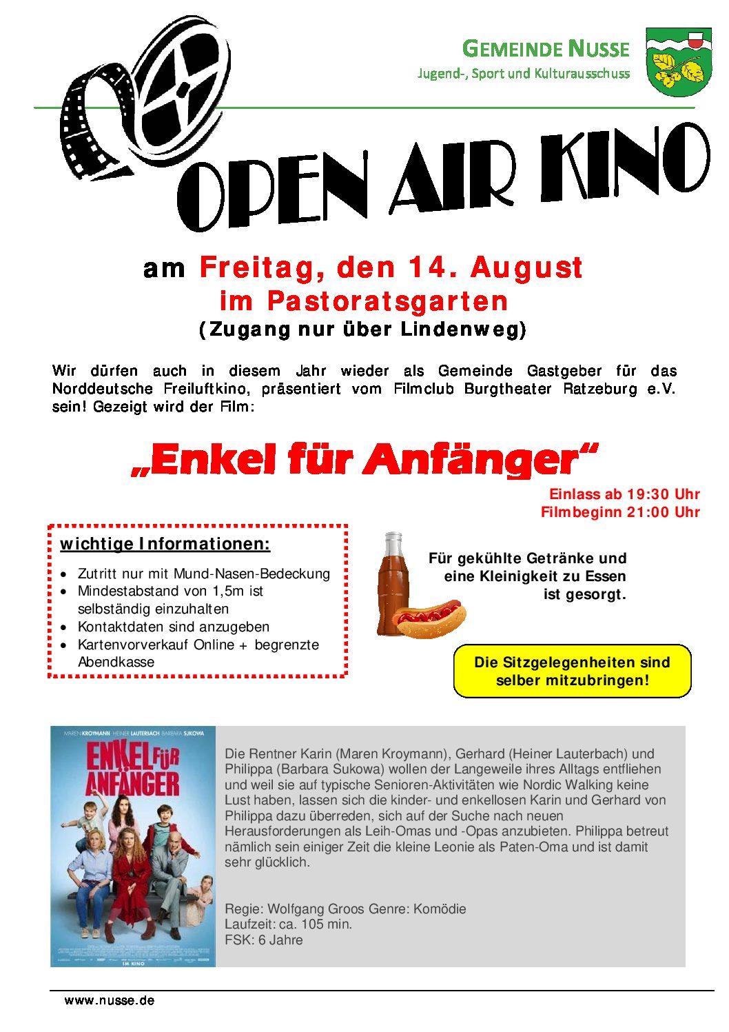 Open Air Kino Am Kommenden Freitag In Nusse